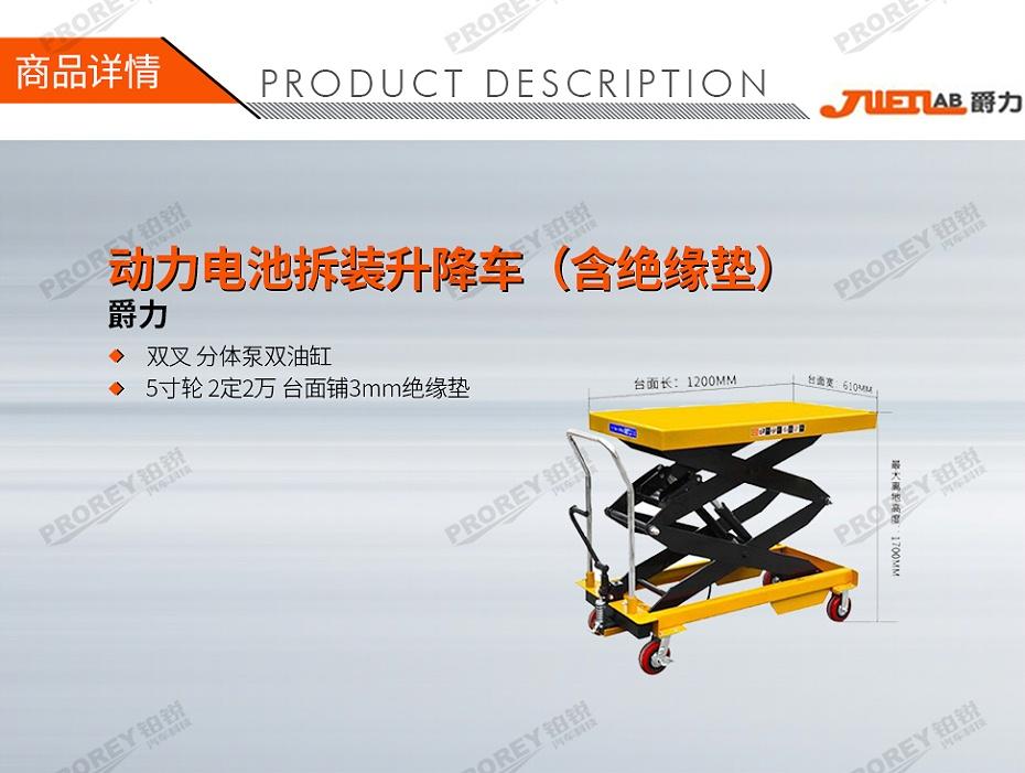 GW-200010022-爵力 1500-800mm 动力电池拆装升降车(含绝缘垫)-1