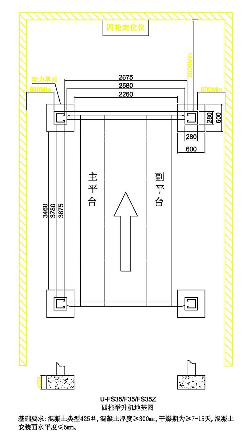 优耐特U-FS35&F35&FS35Z-四柱举升机地基图