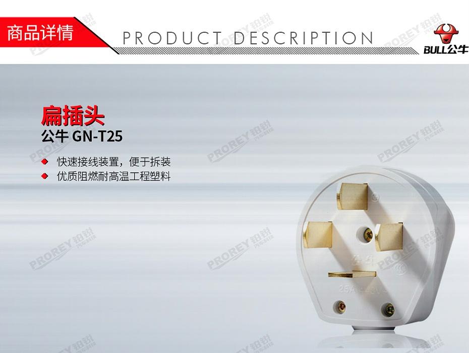 GW-130970217-公牛 GN-T25 扁插头(4插,25A3800V)-1