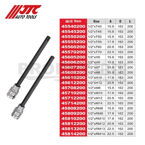 JTC45540200 200长凸头套筒-1/2英寸xT40